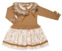 Beige Knitted Dress with Floral Skirt & Removable Fur Collar