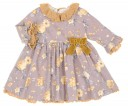 Pale Purple & Mustard Dress with Knitted Lace