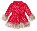 Girls Red Quilted Coat with Synthetic Fur Collar & Cuffs
