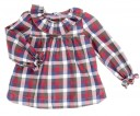 Red & Blue Tartan High Cut Blouse With Round Neckline