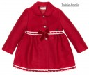 Girls Red Traditional Coat With Lace & Velvet Bows