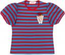 Glovobó Camiseta Niña Algodón Rayas Rojo & Azul con Bolsillo