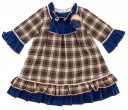 Bright Blue & Beige Three-Quarter Sleeve Tartan Dress