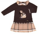 Chocolate Bear Sweater & Pleated Checked Skirt Dress