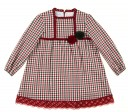 Deep Red & Green Check Dress with Pompoms