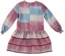 Burgundy & Blue Geometric Print Viscose Dress