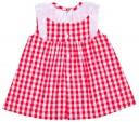 Vestido Niña Cuadros Vichy Rojo Lazo Volante