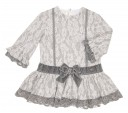 Gray & White Lace Jersey Dress
