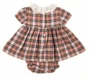 Pale Pink & Beige Tartan Dress & Knickers Set