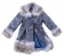 Navy Quilted Coat eith Faux Fur Collar, Cuffs & Hem