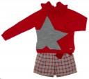 Girls Red & Gray Star Sweater & Tweed Short Set