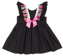 Vestido Negro Niña Escote Espalda flecos Lazo Rosa