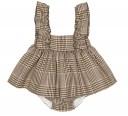 Brown Check Print Pinafore Dress & Short Set