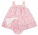 Red & Ivory  Lace Trim Stripe Dress & Knickers Set