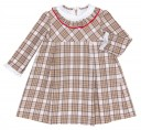 Beige Check Dress with Ruffle Collar