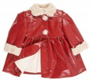 Dark Red Patent Fleece Lined Coat with synthetic fur collar & cuffs