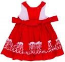 Girls Red Polka Dot Cotton & Broderie Flared Dress