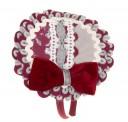 Gray & Burgundy Hairband with Velvet Bow