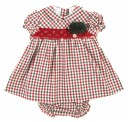 Deep Red & Green Check Dress & Knickers 2 Piece Set with Pompoms