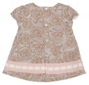 Taupe & Pink Floral Dress, Bonnet & Knickers Set