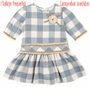 Beige & Light Blue Check Print Dress
