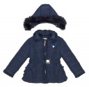 Girls Blue Padded Coat with Frilly Back