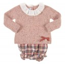 Dusky Pink Melange Knit Sweater & Tartan Shorts Set