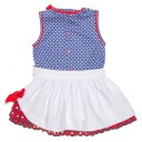Blue Polka Dot Top & White Ruffle Skirt Set