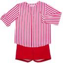 Eve Children Conjunto Niño Camisa Rayas Short Rojo