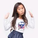 Girls White Cotton T-Shirt With Sequin Mini Van Decoration
