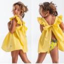 Girls Yellow Polka Dot Open Back Beach Dress