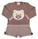 Beige & Brown Knitted Bear Sweater & Shorts with pompoms set