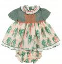 Green & Floral Print High Cut Dress & Knickers Set