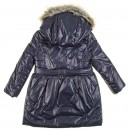 Navy Blue Padded Coat with Fur Hood