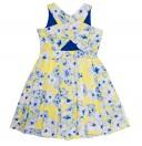 Blue & Yellow Petunia Print Structured Poplin Dress