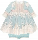 Girls Pale Blue & Beige Embroidered Tulle 2 Piece Dress Set