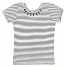 Black & White Striped T-Shirt with Jewelled Collar