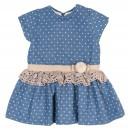 Blue & Beige Speckled Dress with Pompon