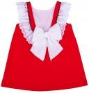 Vestido Niña Evasé Rojo & Cuello Volante Pico Bordado