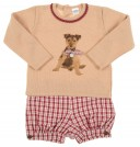 Beige Knitted Dog Sweater & tartan short set