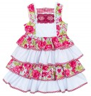 Colourful Floral & Check Print Ruffle Dress