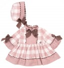 Baby Baby Dusky Pink Checked Dress & Bonnet Set