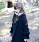 Dark Blue Coat With Frilled Velvet Cuffs