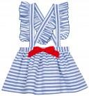 Mon Petit Bonbon Falda Niña Tirantes Cruzados Rayas Azul Blanco