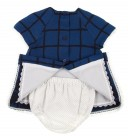 Blue Check Print Dress, Bonnet & Short 3 piece Set