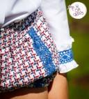 White Ruffle Collar Blouse, Blue Crown Sweater & Wool Ruffle Shorts Set