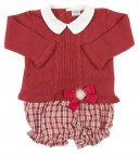 Baby Burgundhy Knitted Sweater & tartan short set