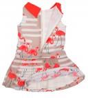 Orange & Beige Flamingo Print Dress with plated skirt