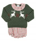 Green Reindeer Knitted Sweater & Check Print Short Set