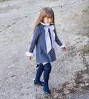 Gray & White Stretch Jersey Shift Dress With Ruffle collar
